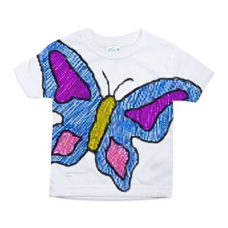 toddler girl's blue butterfly large print t-shirt
