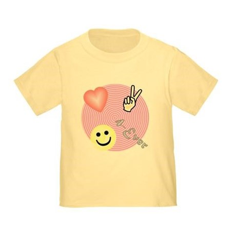 toddler girl's peace love happiness t-shirt