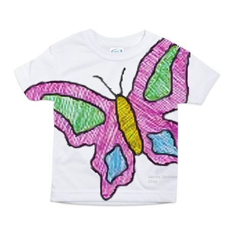 toddler girl's pink butterfly large print t-shirt