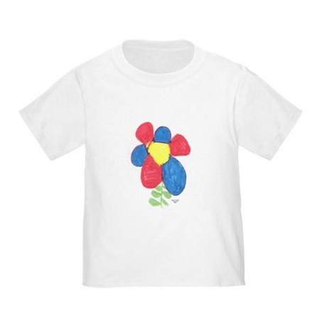toddler red and blue flower t-shirt