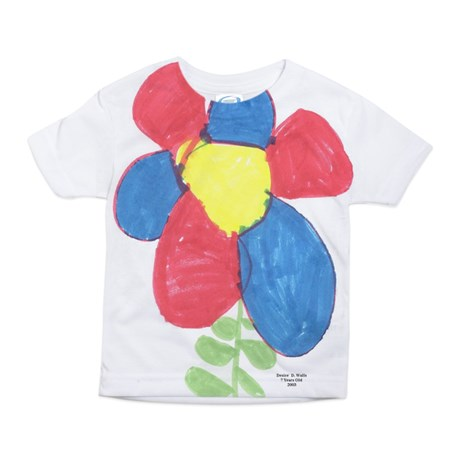 toddler girl's red and blue flower large print t-shirt