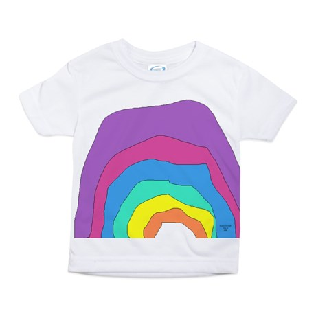 toddler girl's color rainbow large print t-shirt