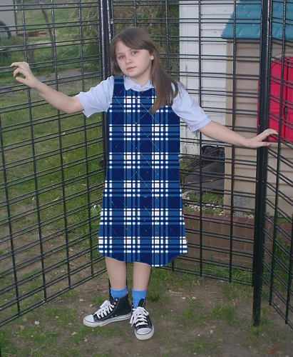 girl's plaid tent jumper